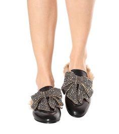 Gucci - Embellished leather slip-on loafers | mytheresa.com