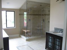 glass shower walls | Glass Shower Walls in Vaulted Ceiling Bathroom with Glass On Top ...