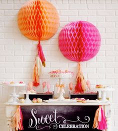 Love the bright orange and pink honeycomb tissue ball wall decor attached to coordinating tissue tassels. Pink Gold Party, Pink And Gold, Baby First Birthday, First Birthday Parties, Happy Birthday, Tissue Paper Decorations, Moroccan Party, Throw A Party, Diy Party