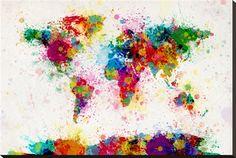 Mapa-múndi de borrões de tinta Impressão em tela esticada