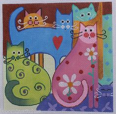 Amanda Lawford Cat Layers by MK Hand Painted Needlepoint Canvas 18 Count | eBay