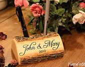 Rustic Log Holder Custom Names Centerpiece 20 Inch 4 by HomenStead