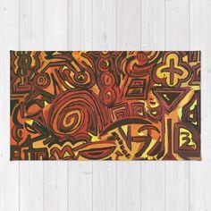 Orange Symbols Rug by ludodesign | Society6