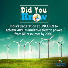 India's declaration at UNCOP21 to achieve 40% cumulative electric power from RE resources by 2030. #Windergy2017 #Wind4All #RenewableEnergy #WindPowerForever #HarvestAir #DestinationWind