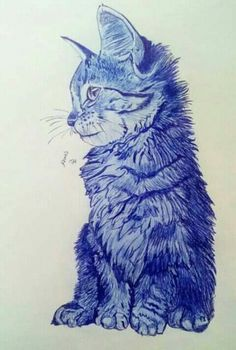Blue Cats, Cat Drawing, Doodles, Drawings, Cute, Animals, Fictional Characters, Drawing S, Kunst