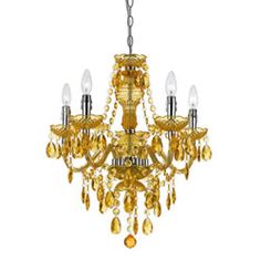 Plastic chandelier continuing monochromatic Victorian gold theme