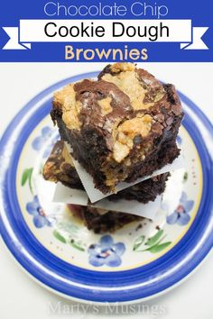 Chocolate Chip Cookie Dough Brownies - Marty's Musings