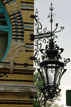 Antwerpen, Schildersstraat, Jugendstilhaus t'bootje (Art Nouveau House Little Boat) Lantern Post, Lantern Lamp, Candle Lamp, Lanterns, Unique Lighting, Outdoor Lighting, Art Nouveau, Sculpture Metal, Lampe Decoration