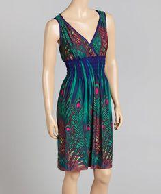 Jade Peacock Surplice Dress - Women & Plus by Raya Sun #zulily #zulilyfinds