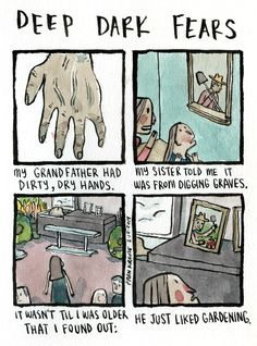 Can you dig it? An anonymous fear submitted to Deep Dark Fears - thanks! You can find both Deep Dark Fears books online and wherever books are sold! Ask your local comic book shop about them! Creepy Comics, Horror Comics, Funny Comics, Fear Book, Deep Dark Fears, Dark Comics, Funny Quotes In Hindi, Dark Art Illustrations, Creepy Stories