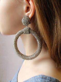 silver Hoop Earrings Oscar de la renta clip on earrings les bonbons earrings bead ball hoop La La earring silver earrings