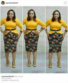 Beautiful Ankara Skirt and Blouse 2018 African Fashion Ankara, Latest African Fashion Dresses, African Dresses For Women, African Print Fashion, African Attire, African Wear, Office Dresses For Women, Ankara Skirt And Blouse, African Traditional Dresses