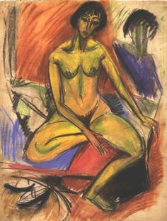 Seated Female Nude -  Ernst Ludwig Kirchner
