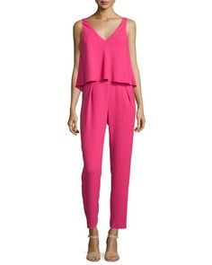 Sleeveless+V-Neck+Popover+Jumpsuit+by+Trina+Turk+at+Neiman+Marcus.
