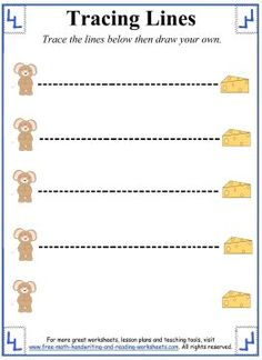 Tracing Lines Worksheets - Horizontal Lines - Help the Mouse get to the cheese.