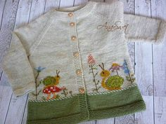 KNITTING PATTERN.Snails and flowers. PC015 NEW. | Etsy Baby Cardigan Knitting Pattern, Baby Knitting Patterns, Knitting Designs, Baby Patterns, Embroidery Stem Stitch, Marker, Top Down, Knit Baby Sweaters, Thick Yarn