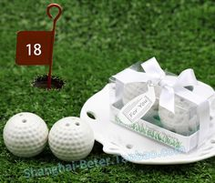 http://www.aliexpress.com/store/product/BeterWedding-gifts-wholesale-XC001-Embossed-Paper-Photo-Album-Favor-Wedding-Souvenir-or-Wedding-favor/512567_592763693.html  Ceramic Golf Ball Salt and Pepper Shaker Club Promotion Gifts