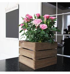 Christmas Gift Guide - Our small square wooden crate makes the perfect plant pot - Priced Wooden Crates White, Wooden Crates For Sale, Wooden Crates Garden, Wooden Crate Boxes, Vintage Wooden Crates, Small Wooden Boxes, Wooden Garden Planters, Vegetable Planter Boxes, Vegetable Crates