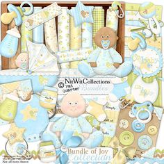 Digital scrapbooking baby boy and card making baby boy kit.  The baby bottle, soother and baby bib are just a few of the new items you'll need! FQB - Bundle of Joy