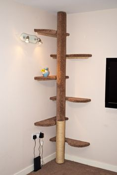 Hand made cat tree. six curved shelves and central pole to climb up, bottom covered in 8mm sisal rope for claw removing.  The urn on the tree is wee Clawdius, he is the first to go on the cat tree :)