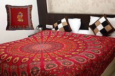 Printed mandala bed covers shop online at a low price from handicrunch. #bedcovers #bedsheets #bedspread #mandalabedcovers #bedroomdecor