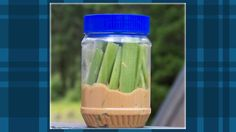 Add Celery Sticks to a Peanut Butter Jar for an Easy Snack on the Road    Peanut butter and celery go great together. For a portable, car trip-friendly way to serve this snack, just stick some celery sticks in a jar filled with an inch or two of peanut butter.
