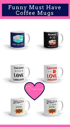 Funny coffee mugs to give as gifts or keep for yourself! #Coffeelovermug #funnydrinkingcup #morningperson #caffeinate #aromaofroastedcoffeebeans   https://kit.com/hippiehoopla/funny-mugs