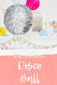 Every new year's eve party needs a sparkly ball. Our quick and easy DIY disco ball tutorial is the perfect solution and addition to your gathering. Glitter Birthday Parties, Disco Birthday Party, Birthday Diy, Dance Party Kids, Dance Parties, Diy Craft Projects, Diy Crafts, Food Crafts, Easy Diy