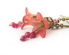 Red Flower Earrings Strawberry Blush Botanical by apocketofposies, $26.00