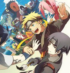 NARUTO. Naruto, Sakura, Sasuke, Sai.