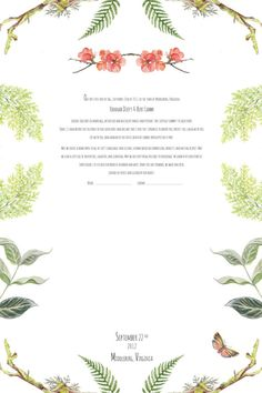 Botanical Signature Quaker Marriage Certificate by artseed on Etsy