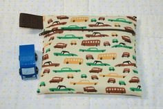 Boy's Car Snack Bag  Small Zippered Snack Bag  by WetBagIt on Etsy, $5.50