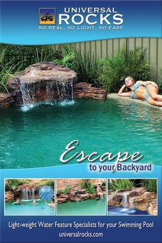 Universal Rocks swimming pool waterfall kits are a great way to get a professional looking waterfall with out the professional cost and mess. Order your swimming pool waterfall kit online today! Small Backyard Pools, Backyard Pool Landscaping, Diy Pool, Backyard Patio Designs, Swimming Pools Backyard, Swimming Pool Designs, Outdoor Pool, Swimming Pool Waterfall, Natural Swimming Pools
