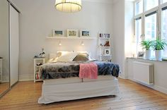 Apartment Floor Plans: Apartment Floor Plans With Wooden Floor And Large Bed And Chandelier