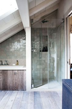 pitched roof shower idea