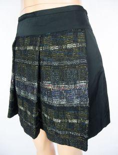 LIDA BADAY Skirt Size 8 M Black Plaid Wool Silk Above Knee Wear To Work #LidaBaday #ALine