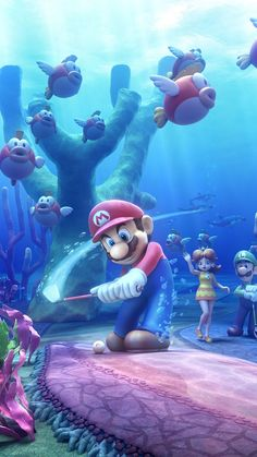 Mario Golf Under water putting Super Mario World, Super Mario Bros, Mundo Super Mario, Super Mario Kunst, Super Mario Brothers, Super Smash Bros, Mario Kart 8, Mario Bros., Mario And Luigi