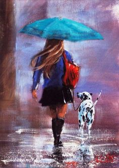 Helen Cottle.  Getting wet spots - in the rain with a Dalmatian...