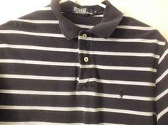 Polo Ralph Lauren Mens Shirt Medium Black Gray  Striped Short Sleeve  #RalphLaurenPolo #PoloRugby