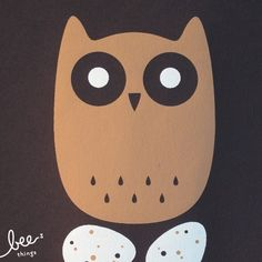 longeared owl limited edition screen print by beethings on Etsy, $25.00