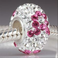 Pink Ribbon Breast Cancer Awareness Austrian Crystal with Authentic 925 Sterling Silver Core Beads