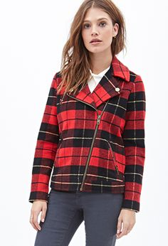 Fall's Best Coats and Jackets for Every Budget Plaid Coat, Plaid Jacket, Moto Jacket, Red Plaid, Tartan, Types Of Jackets, Cute Jackets, Forever 21 Fashion, Dressy Attire