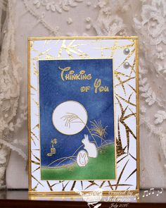 handmade card: WT594 Moon Bunnies by Cook22  ... Asian theme ... luv the look of gold embossing and patterned paper with bamboo ...