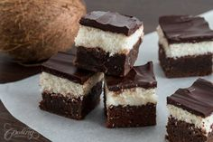 These chocolate coconut brownies are simply impossible to resist, fudgy brownies at the base topped with a coconut filling and chocolate ganache on top. For those who love coconut desserts these are one of the best brownies ever.