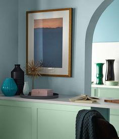 BEHR Color Trends 2021 Subtle Focus Interior Color Inspiration Subtle Focus: Soft pastels like Seaside Villa S190-1 and Wishful Green M410-2 are inspired by modern versions of art deco design and styling.