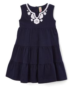 Another great find on #zulily! Navy Blue Tier Dress - Infant, Toddler & Girls #zulilyfinds