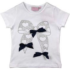 Ariana Dee Bright White Jnr Girls Bow T Shirt - DesignerChildrenswear.com