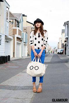 bright pants and polka dots