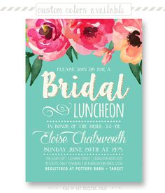 934f021cd945 Trendy Watercolor Floral Bridal Luncheon Invitation - CUSTOMIZABLE  PRINTABLE INVITATION - Watercolor