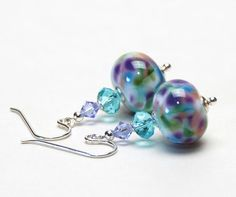 Lilac Purple, Light Turquoise Blue and White Lampwork Glass Earrings - Sterling Silver Earwires - Handmade Jewelry